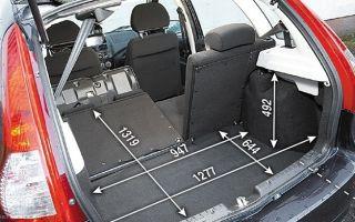 Лада Калина 1 и 2 универсал объем багажника в литрах